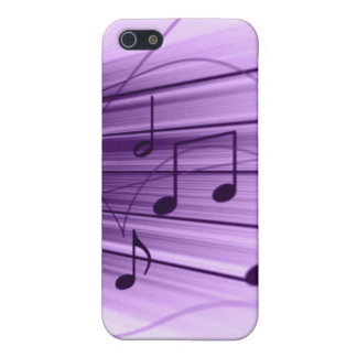 Purple and White Music Staff Notes iPhone4 Cover Case For iPhone 5/5S