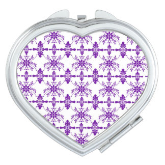 Purple And White Old English Floral Design Compact Mirrors