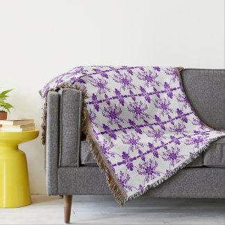 Purple and White Old English Styled Throw