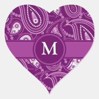 Purple and White Paisley Heart Sticker