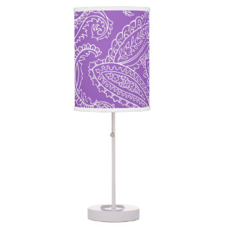 Purple and White Paisley Table Lamp
