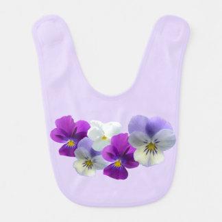 Purple and White Pansies Baby Bib