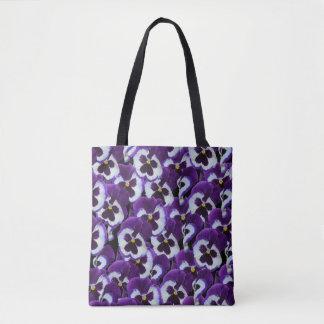 Purple And_White_Pansies_Full_Print_Shopping_Bag Tote Bag