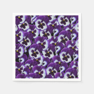 Purple And White Pansy Bouquet, Napkin