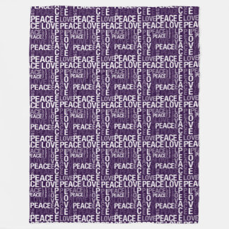 Purple and White Peace Love Fleece Blanket