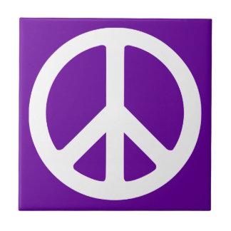 Purple and White Peace Symbol Tile