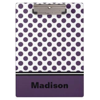 Purple and White Polka Dot Clipboard