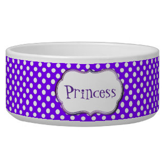 Purple and White Polka Dot Custom Dog Bowl