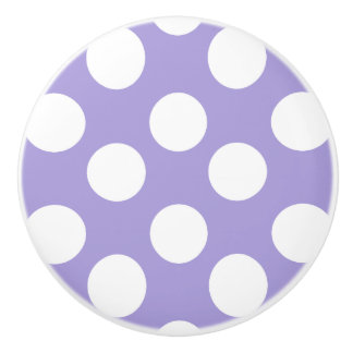 Purple and White Polka Dot Furniture Knob