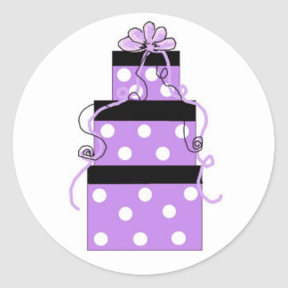 Purple and White Polka Dot Packages Round Sticker