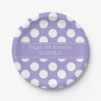 Purple and White Polka Dot Paper Plates