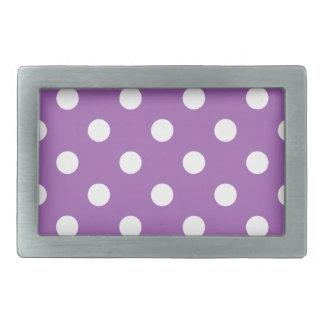 Purple And White Polka Dot Pattern Belt Buckles