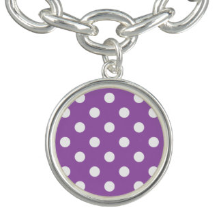 Purple And White Polka Dot Pattern Charm Bracelet