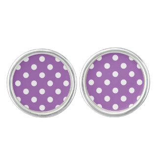 Purple And White Polka Dot Pattern Cuff Links
