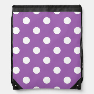Purple And White Polka Dot Pattern Drawstring Bag