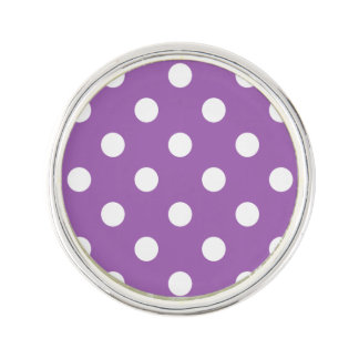 Purple And White Polka Dot Pattern Lapel Pin