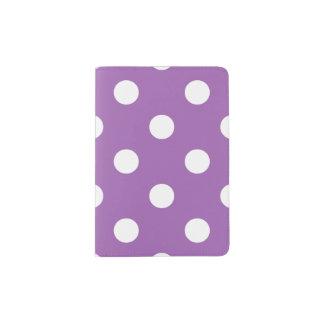 Purple And White Polka Dot Pattern Passport Holder
