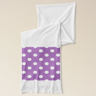 Purple And White Polka Dot Pattern Scarf