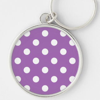 Purple And White Polka Dot Pattern Silver-Colored Round Keychain