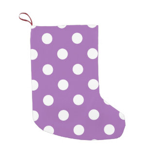 Purple And White Polka Dot Pattern Small Christmas Stocking