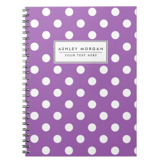 Purple And White Polka Dot Pattern Spiral Notebook