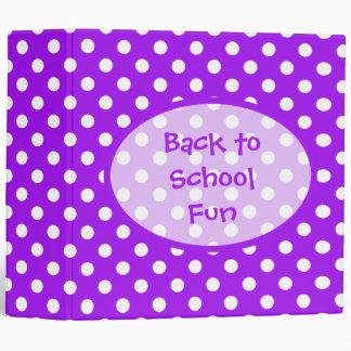 Purple and White Polka Dots Binders
