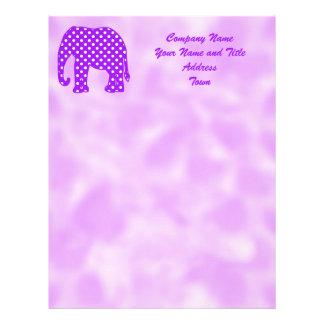 Purple and White Polka Dots Elephant Letterhead Design