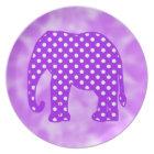 Purple and White Polka Dots Elephant Plate