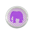 Purple and White Polka Dots Elephant Ring