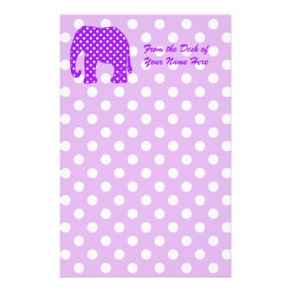 Purple and White Polka Dots Elephant Personalized Stationery