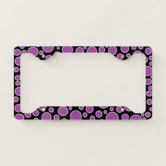Purple and White Polka Dots License Plate Frame