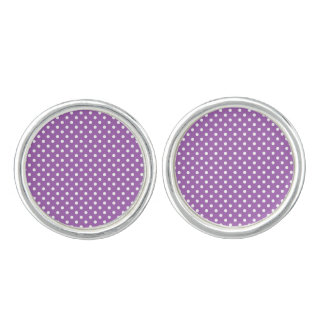 Purple and White Polka Dots Pattern Cufflinks