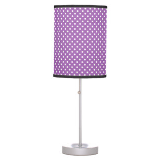 Purple and White Polka Dots Pattern Desk Lamps