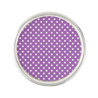 Purple and White Polka Dots Pattern Lapel Pin
