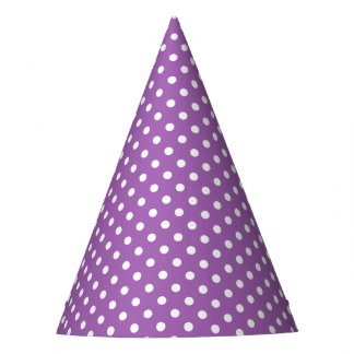 Purple and White Polka Dots Pattern Party Hat