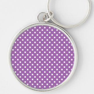Purple and White Polka Dots Pattern Silver-Colored Round Keychain