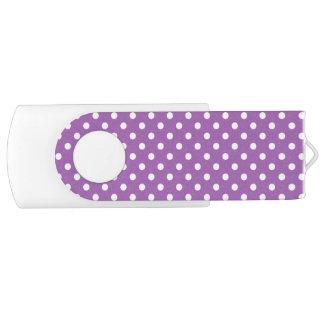 Purple and White Polka Dots Pattern Swivel USB 2.0 Flash Drive