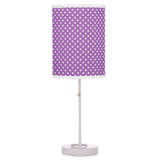 Purple and White Polka Dots Pattern Table Lamps