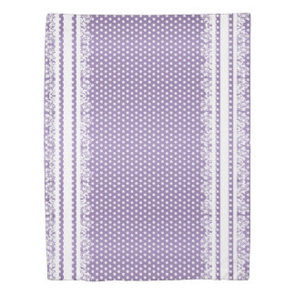 Purple and White Polka Dots with Lace Duvet Cover