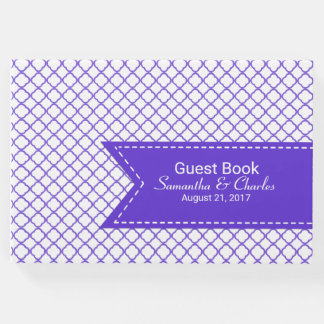 Purple and White Quatrefoil Wedding Guest Book