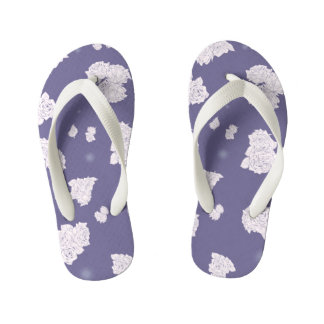 Purple and White Roses Kid's Flip Flops