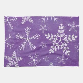 Purple and White Snowflake Pattern Kitchen Towel