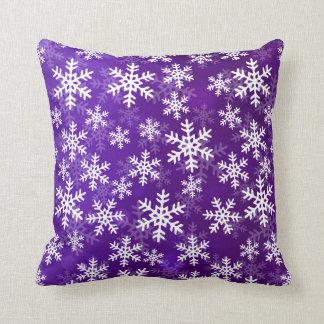 Purple and White Snowflakes Throw Pillow