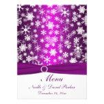 Purple and White Snowflakes Wedding Menu