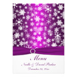 Purple and White Snowflakes Wedding Menu Personalized Invites