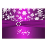 Purple and White Snowflakes Wedding Reply Card Invitation