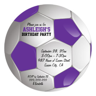 "Purple and White Soccer Ball Birthday Party 5.25"" Square Invitation Card"