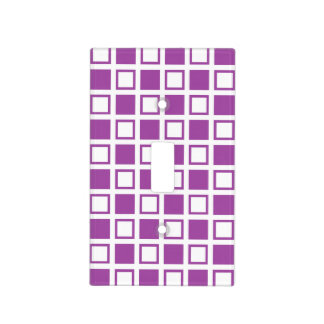 Purple and White Squares Light Switch Cover