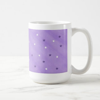 Purple and white stars on lavender mugs