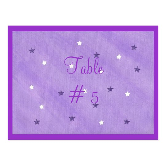 Purple and White Stars Table Number Postcards